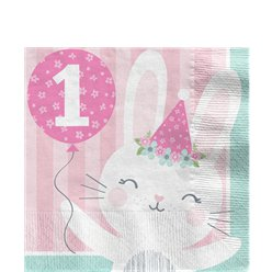 Birthday Bunny 1st Birthday Lunch Napkins - 33cm
