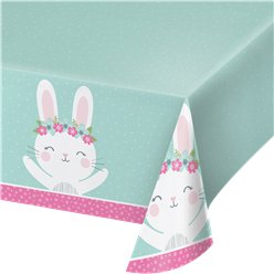 Birthday Bunny Plastic Tablecover -1.2m x 1.8m