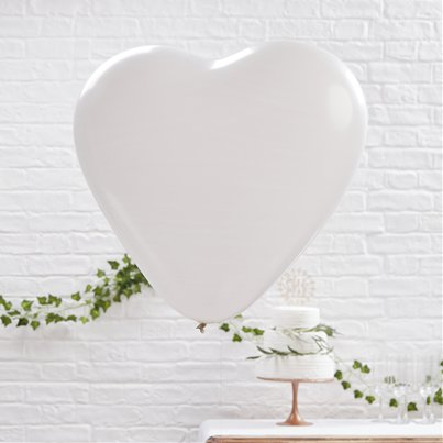 "Beautiful Botanics Giant White Heart Balloons - 36"" Latex"