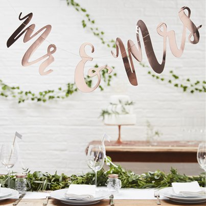 Beautiful Botanics 'Mr & Mrs' Rose Gold Bunting - 1.5m