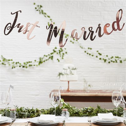 Beautiful Botanics 'Just Married' Rose Gold Banner - 1.5m