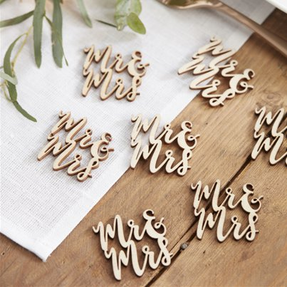 Beautiful Botanics Wooden 'Mr & Mrs' Wooden Confetti