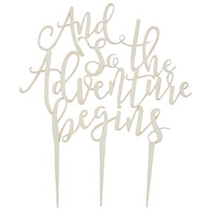 Beautiful Botanics 'And So The Adventure Begins' Wooden Cake Topper - 14.5cm