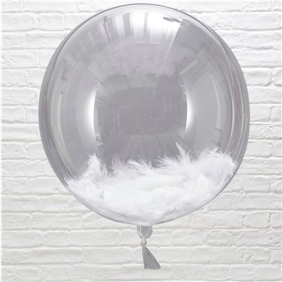 Beautiful Botanics White Feather Filled Orb Balloons - 18