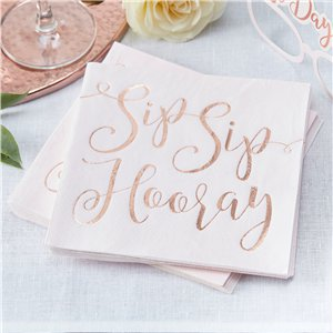 Beautiful Botanics 'Sip Sip Hooray' Paper Napkins - 33cm