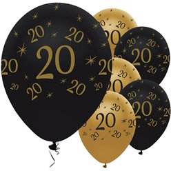 "Age 20 Black & Gold Balloons - 11"" Latex"
