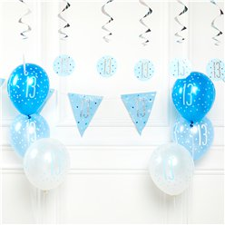 Blue 13th Birthday Glitz Decoration Kit - Value