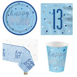 Blue 13th Birthday Glitz Party Pack - Value Pack for 8