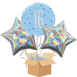 Blue Glitz 16th Birthday Balloon Bouquet - Delivered Inflated