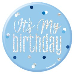 "Blue Birthday Glitz ""Its my Birthday"" Badge - 7cm"