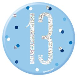 Blue Birthday Glitz Age 13 Badge - 7cm