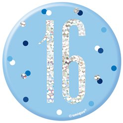 Blue Birthday Glitz Age 16 Badge - 7cm