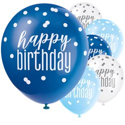 Blue Birthday Glitz Latex Balloons - 12""