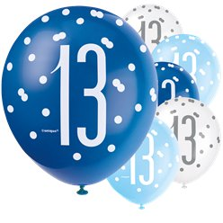 Blue Birthday Glitz Age 13 Latex Balloons - 12""