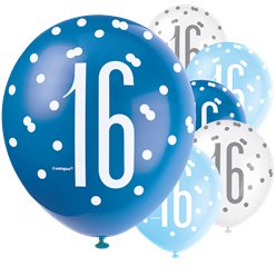 Blue Birthday Glitz Age 16 Latex Balloons - 12""