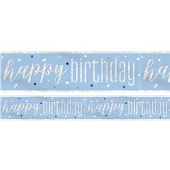 Blue Birthday Glitz Happy Birthday Banner - 2.75m