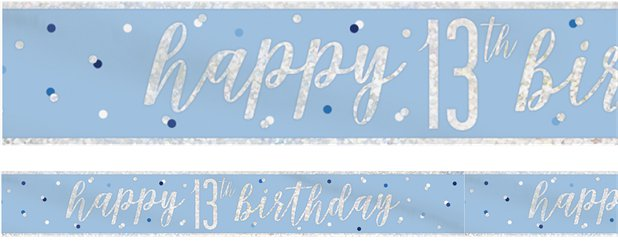 Blue Birthday Glitz Age 13 Banner - 2.75m