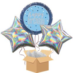 Blue Glitz Happy Birthday Balloon Bouquet - Delivered Inflated