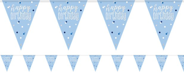 Blue Birthday Glitz Prismatic Bunting - 2.75m