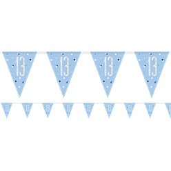 Age 13 Blue Birthday Glitz Prismatic Bunting - 2.75m