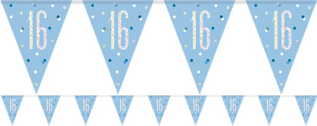 Age 16 Blue Birthday Glitz Prismatic Bunting - 2.75m