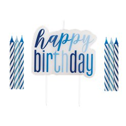 Blue Birthday Glitz Candles Set