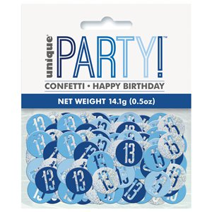Blue Birthday Glitz Age 13 Confetti - 14g bag