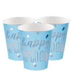 Blue Birthday Glitz Cups - 266ml