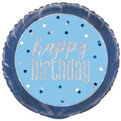 Blue Birthday Glitz Foil Balloon - 18""