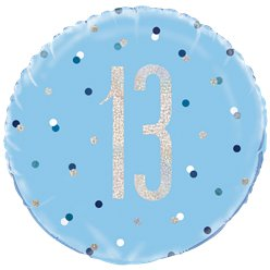 Blue Birthday Glitz Age 13 Foil Balloon - 18""