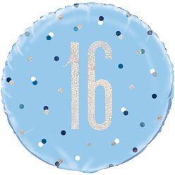 Blue Birthday Glitz Age 16 Foil Balloon - 18""