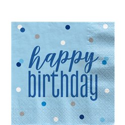 Blue Birthday Glitz Napkins - 33cm