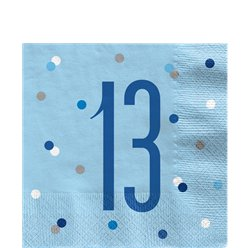 Age 13 Blue Birthday Glitz Napkins - 33cm