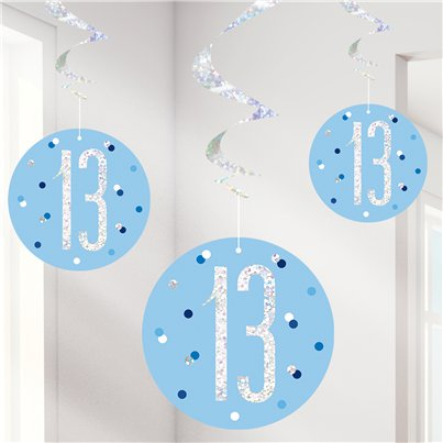 Blue Birthday Glitz Age 13 Hanging Swirls - 80cm