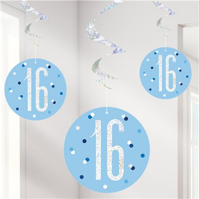 Blue Birthday Glitz Age 16 Hanging Swirls
