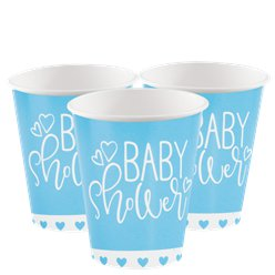 Blue Hearts Baby Shower Paper Cups - 266ml