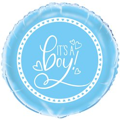 "Blue Hearts Baby Shower Balloon - 18"" Foil"