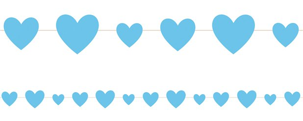 Blue Hearts Baby Shower Garland - 2.75m