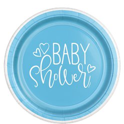 Blue Hearts Baby Shower Plates - 23cm