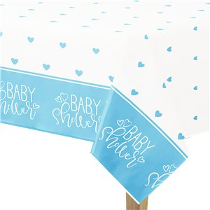 Blue Hearts Baby Shower Plastic Tablecover