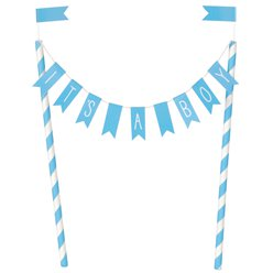 """It's a Boy"" Baby Shower Bunting Cake Topper"