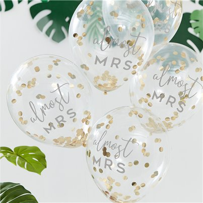 "Botanical Hen Party Gold Confetti Balloons - 12"" Latex"