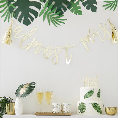 Botanical Hen Party Amost Mrs Gold Tassel Bunting - 2m