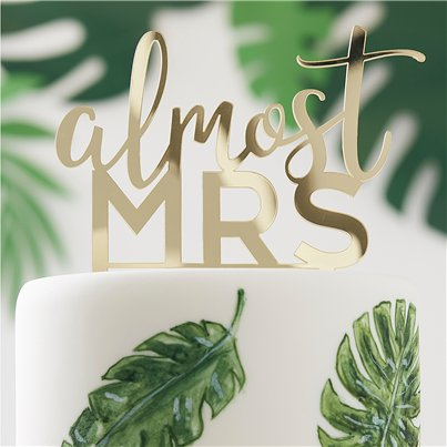 Botanical Hen Party Almost Mrs Gold Cake Topper