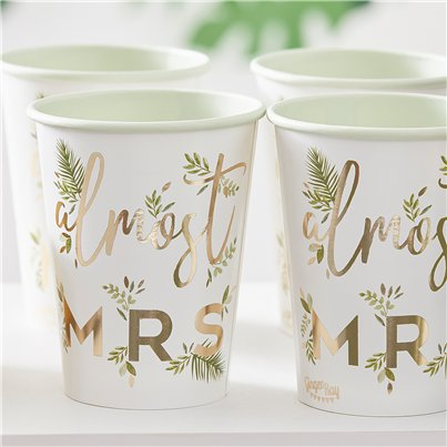 Botanical Hen Party Almost Mrs Paper Cups