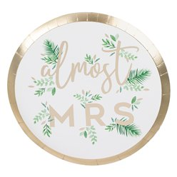 Botanical Hen Party Almost Mrs Paper Plates - 25cm