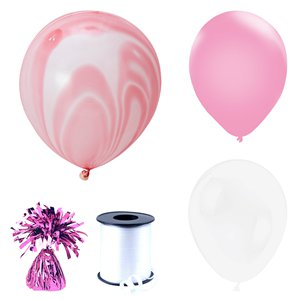 Pink & White Marble Balloon Bouquets - 3 Bunches