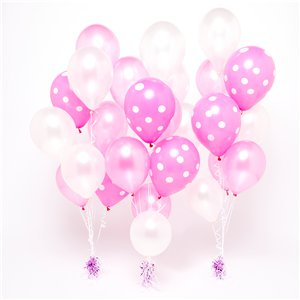 Pink & White Polka Dot Balloon Bouquets - 3 Bunches