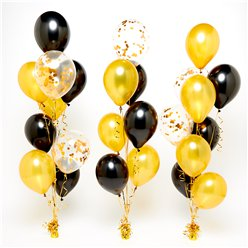 Gold & Black Confetti Balloon Bouquets - 3 Bunches