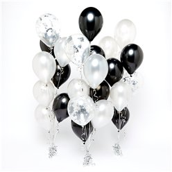 Silver & Black Confetti Balloon Bouquets - 3 Bunches